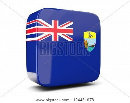 Square Icon With Flag Of Saint Helena Square. 3D Illustration