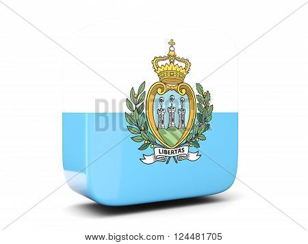 Square Icon With Flag Of San Marino Square. 3D Illustration