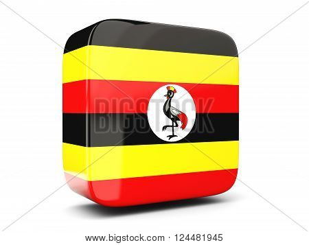 Square Icon With Flag Of Uganda Square. 3D Illustration