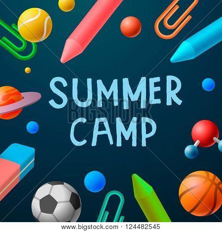 Themed Summer Camp 2016 poster, sport games, art classes, vector illustration.