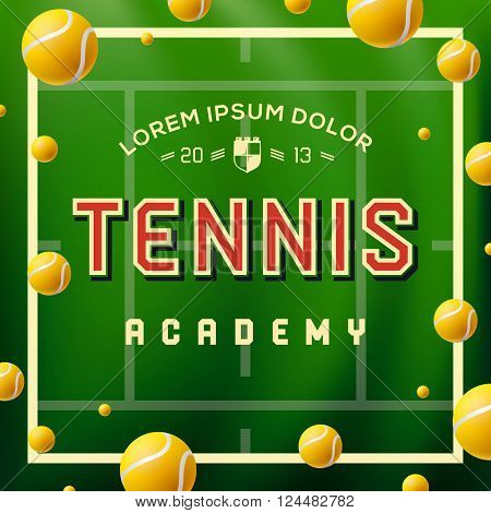 Tennis academy design over green background, vector illustration.