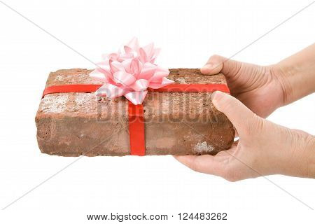 Red Brick Gift Concept of joke make fun of somebody gift on April Fool's Day Prank gift