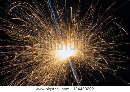 burning fire with lots of sparks closeup