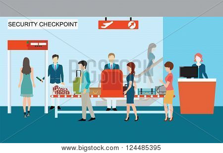 Business people in airport terminal security check checkpoint security security gate airport security business travel vector illustration.
