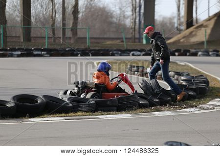 Gomel, Belarus - March 8, 2010: Amateur Competitions In Races On Karting Track. Organized Recreation