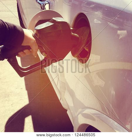 Pumping gas in Truck with Instagram effect