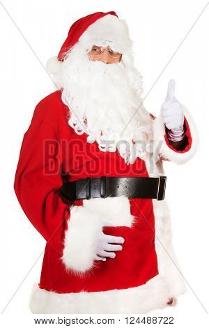 Happy Santa Claus showing thumbs up