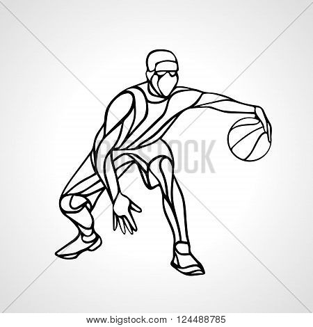 Basketball player abstract silhouette. Crossover dribble. Eps 8