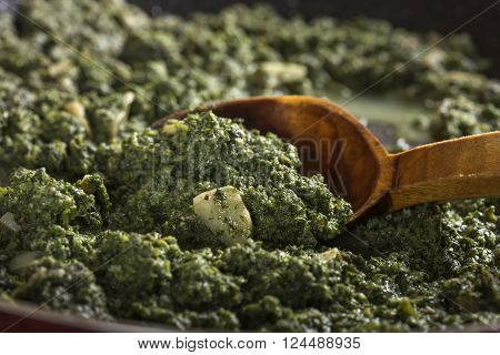 Stewed nettles with cream sauce and garlic in cooking pot with spoon
