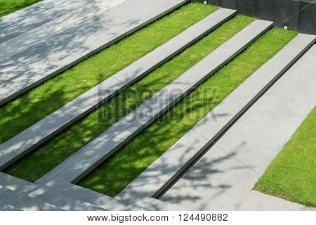 stairway with green grass and gravel texture landscape architecture