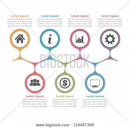 Flow chart template with icons and text, process diagram, business infographics, vector eps10 illustration