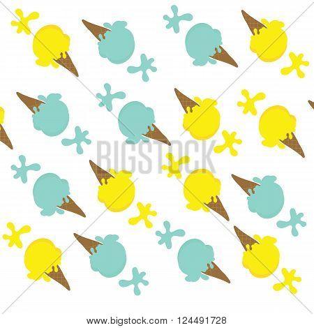 Seamless of lemon ice cream and blue mint ice cream with splash on white black ground for summer tone