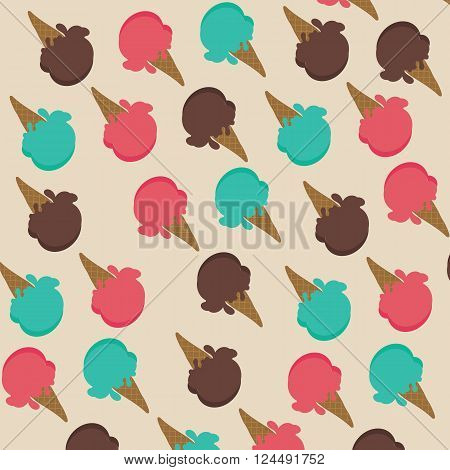 Ice cream cone with strawberry sherbet mint and chocolate background vector illustrations