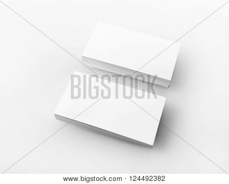 Photo of blank business cards on light background. Stacks of blank business cards. Template for branding identity. Isolated with clipping path.