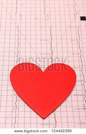 Electrocardiogram graph and heart shape ekg heart rhythm medicine concept