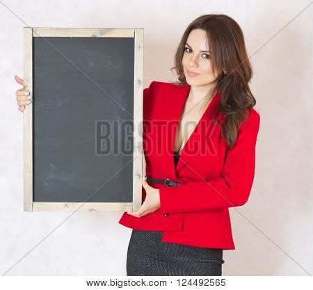 Young Woman With A Black Chalk Board