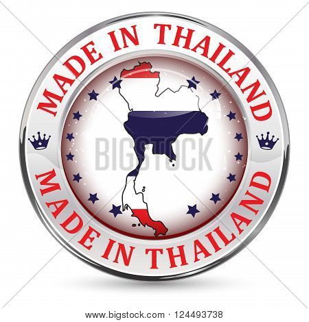 Made in Thailand - icon with Thailand' s flag in the background
