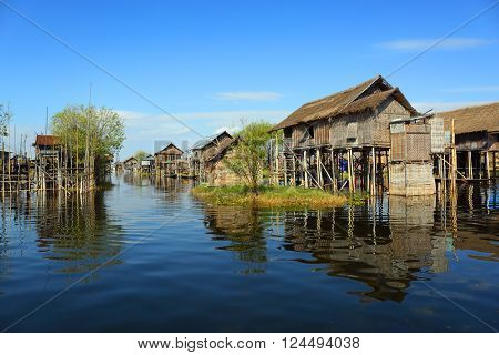 Stilted houses in village on Inle lake, Myanmar (Burma)