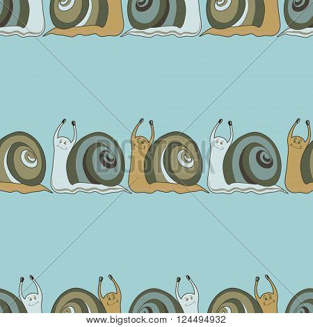 Seamless background with cochlies. Vector background. Animal seamless pattern