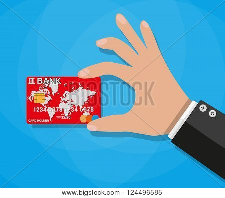 cartoon bucinessman hand holding red credit debit bank card, vector illustration in flat design on blue background