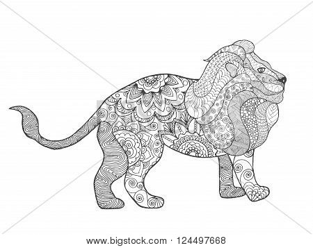 Lion. Adult antistress coloring page. Black white hand drawn doodle animal. Ethnic patterned vector. African, indian, totem tribal, zentangle design. Sketch for tattoo, poster, print, t-shirt