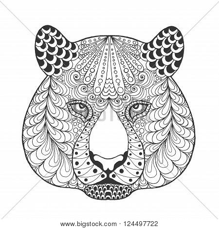 Tiger head. Adult antistress coloring page. Black white hand drawn doodle animal. Ethnic patterned vector. African, indian, totem tribal, zentangle design. Sketch for tattoo, poster, print, t-shirt