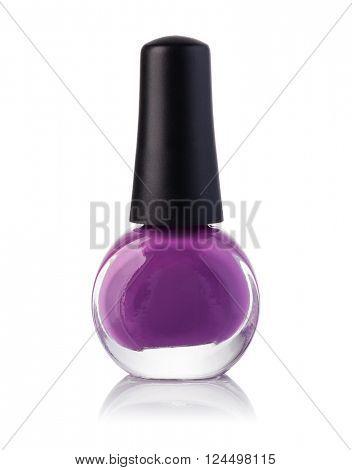 Purple nail polish bottle on white background