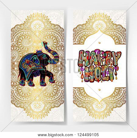 original Happy Holi design with elephant on floral indian background, vector illustration
