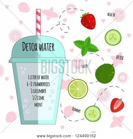 Recipe detox water with lime, cucumber, strawberry, mint, ice. Vector illustration for greeting cards, magazine, cafe and restaurant menu. Fresh cocktail for healthy life, diets.