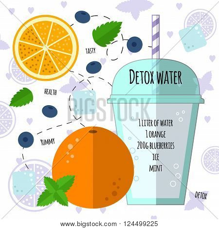 Recipe detox water with orange, mint, blueberry, ice. Vector illustration for greeting cards, magazine, cafe and restaurant menu. Fresh cocktail for healthy life, diets.