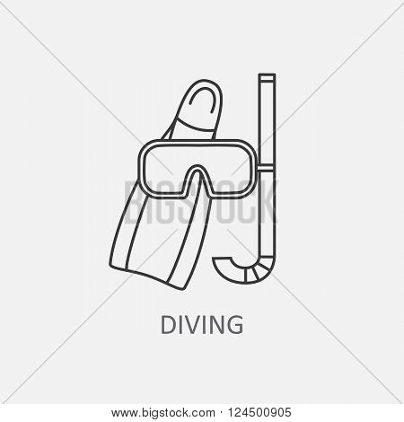Diving vector logo high-quality for modern concepts. Modern thin line icons on the sports theme. Diving mask icon.