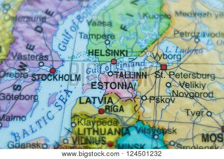 Beautiful photo of a map of Estonia and the capital Tallinn .