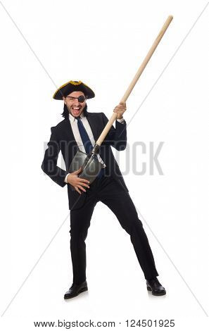 Pirate businessman holding spade isolated on white
