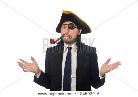 Pirate businessman with smoking pipe isolated on white