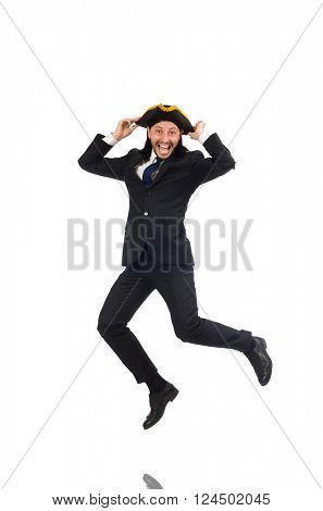 Jumping businessman wearing tricorn isolated on white