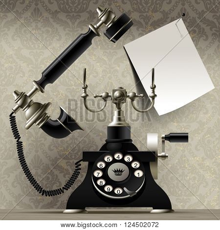 Old telephone on vintage background and a paper sheet with call me inscription. Retro greeting card