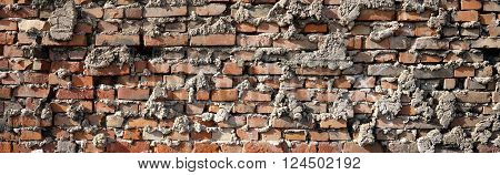 Wall made of bricks in an industrial area in Magdeburg