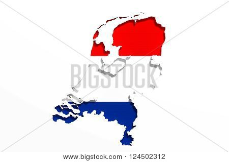 Silhouette Of Holland Map With Flag
