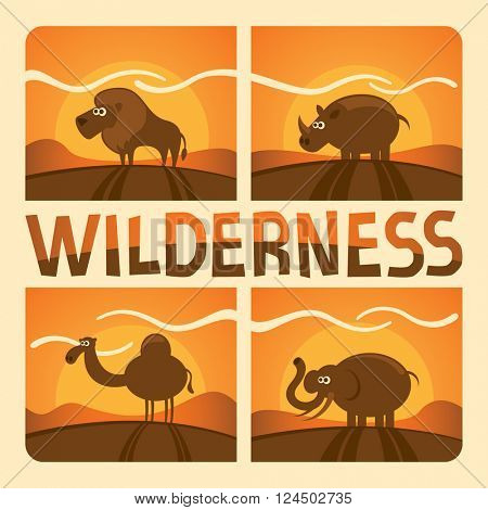 Wild animals. Vector illustration.