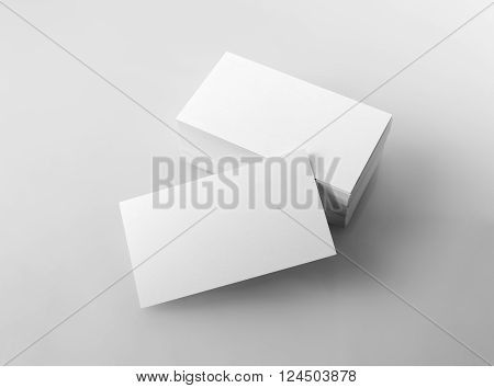 Photo of blank business cards. Mock-up for branding identity for designers. Isolated with clipping path.