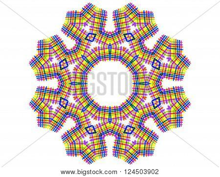 Color abstract checkered concentric shape on white background