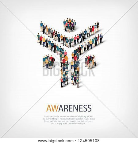 Isometric set of styles, awareness, web infographics concept  illustration of a crowded square, flat 3d. Crowd point group forming a predetermined shape. Creative people. - Vector Illustration. Stock vector.