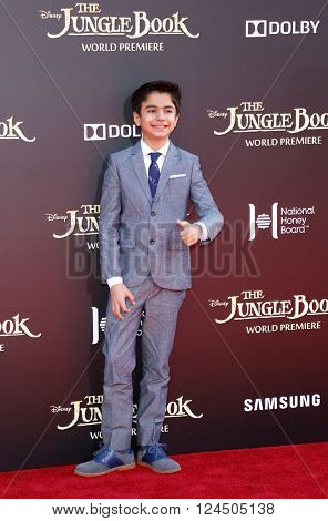 Neel Sethi at the Los Angeles premiere of 'The Jungle Book' held at the El Capitan Theatre in Hollywood, USA on April 4, 2016.