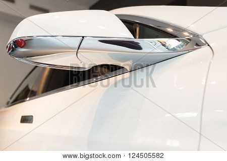 Detail Of Tesla Model S Car In Milan, Italy