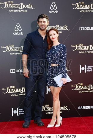 Damon Dayoub and Emily Montague at the Los Angeles premiere of 'The Jungle Book' held at the El Capitan Theatre in Hollywood, USA on April 4, 2016.