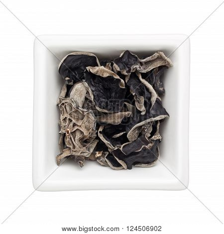 Dried black fungus in a square bowl isolated on white background