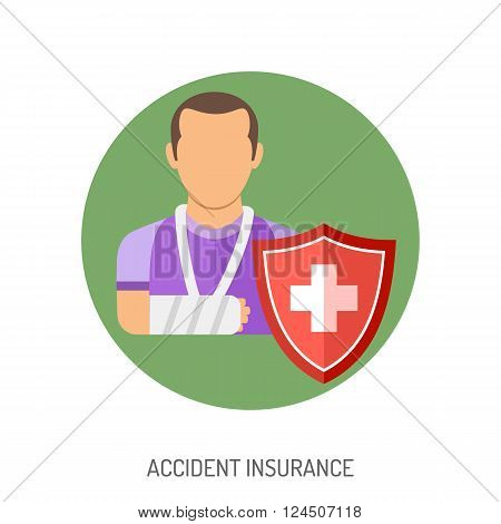 Insurance Flat Icons for Poster, Web Site, Advertising like Shield and Cast.