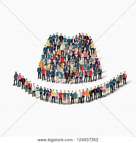Isometric set of styles, hat spy, web infographics concept  illustration of a crowded square, flat 3d. Crowd point group forming a predetermined shape. Creative people. - Vector Illustration. Stock vector.