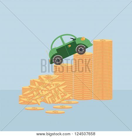 Small car on coin stacks climbing up a money chart conceptual vector illustration.