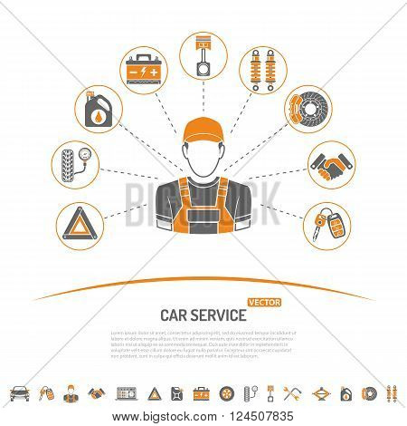 Car Service Concept with Icons for Poster, Web Site, Advertising like Mechanic, Battery, Oil.